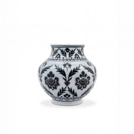 BLACK & WHITE Vase with floral pattern ;;;;;