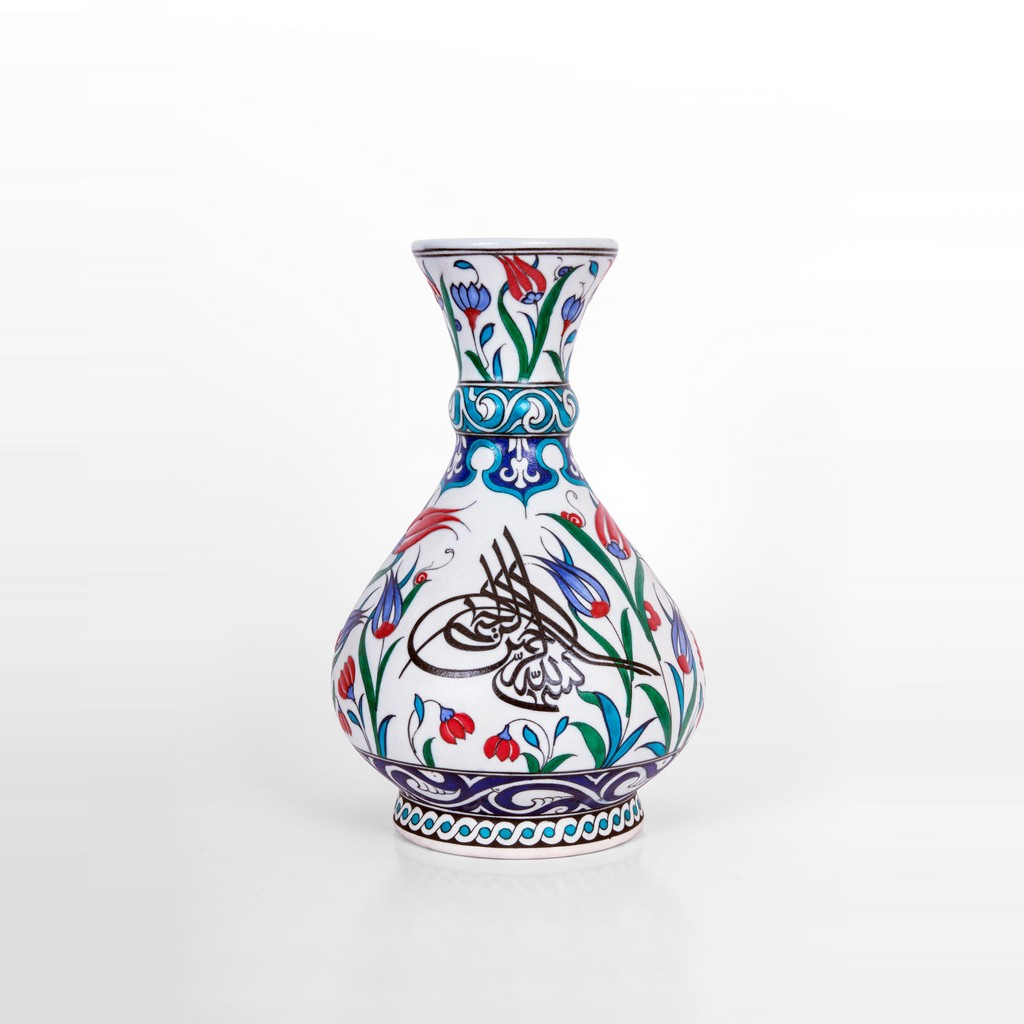 Vase with floral pattern and calligraphy ;32;20 - CALLIGRAPHY