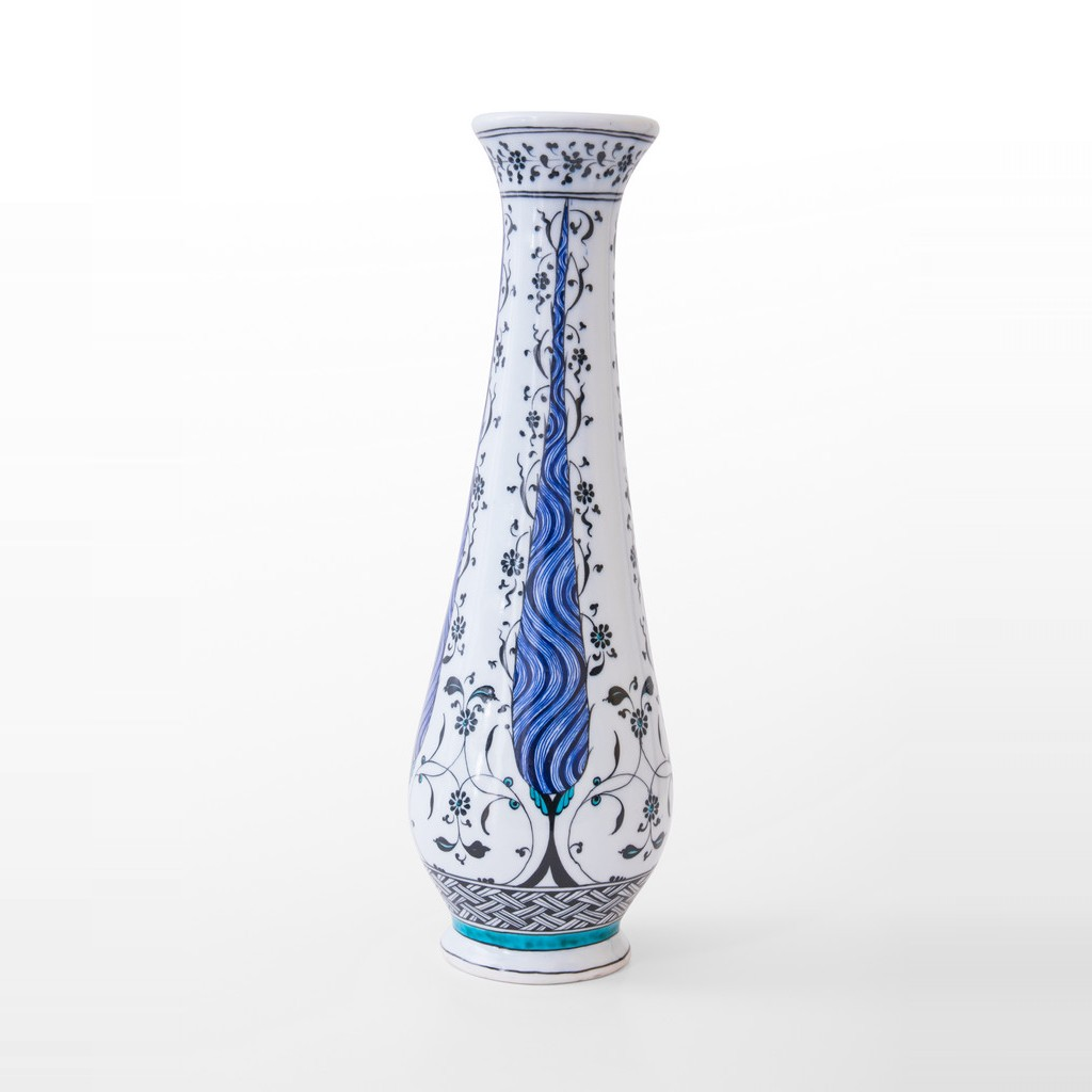 Vase with geometrical and floral pattern ;38;13 - BLUE & WHITE