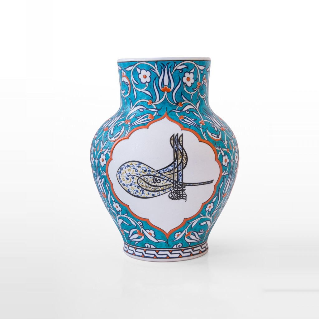 Vase with hatai pattern and tughra ;30;24 - CALLIGRAPHY