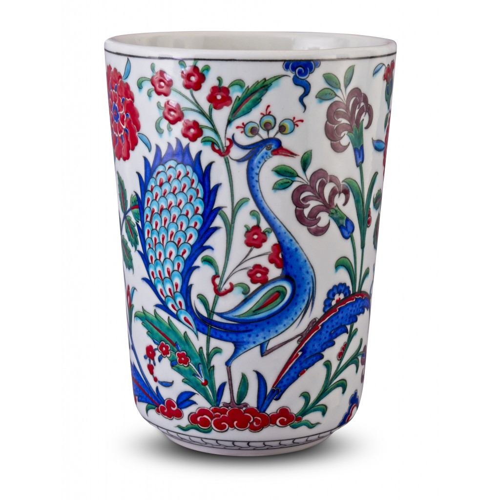Vase with peacock and floral pattern ;28;19;;; - VASE