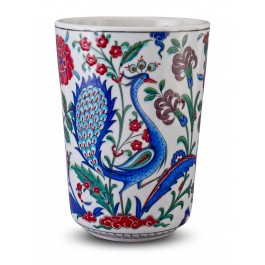 FLORAL Vase with peacock and floral pattern ;28;19;;;