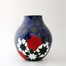 CONTEMPORARY Vase with pomegranates on geometrical star pattern ;30;25;;;