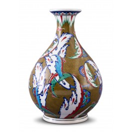 FLORAL Vase with reed leaves pattern ;27;15;;;