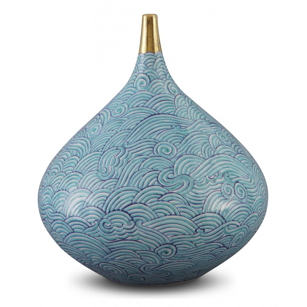 Vase with waves pattern ;26;23;;; - GEOMETRIC