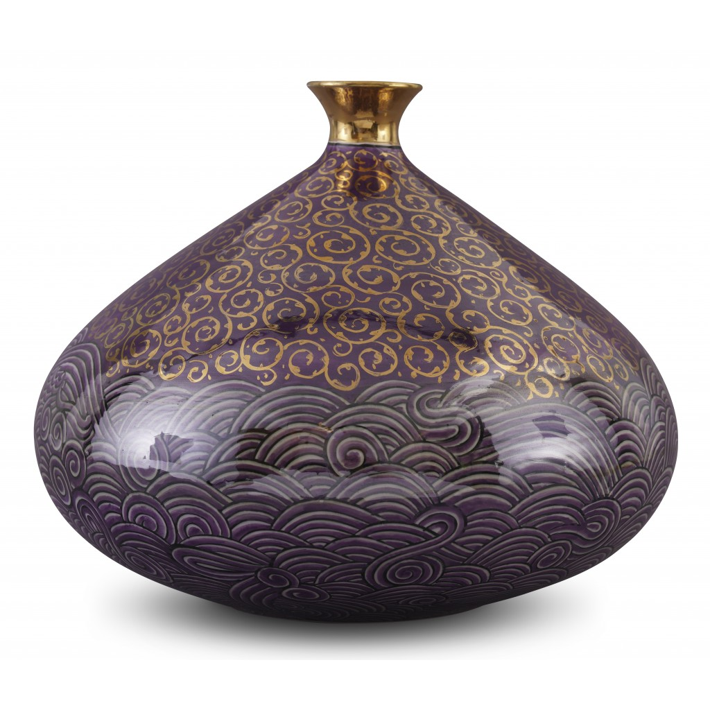 Vase with waves pattern ;26;29;;; - CONTEMPORARY