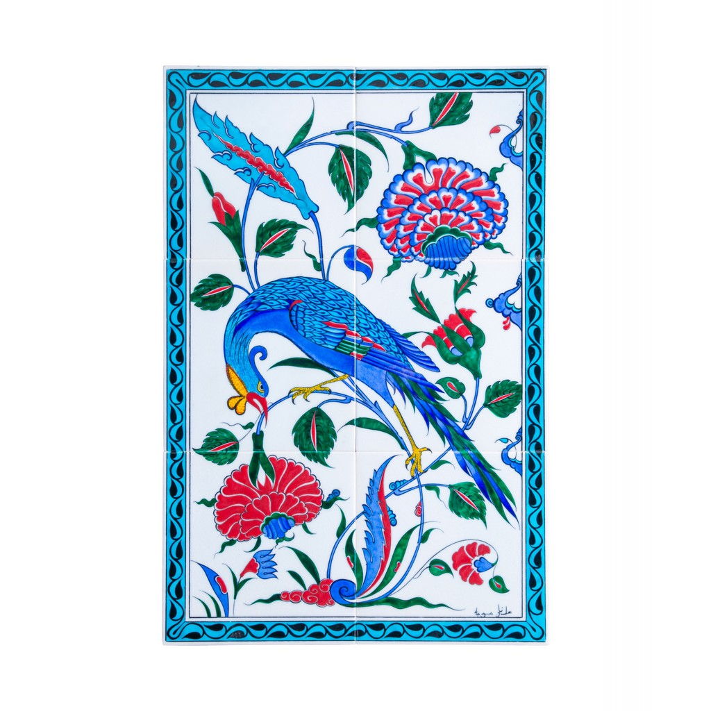 Panel with bird and flower composition - Products - TILE & PANELS